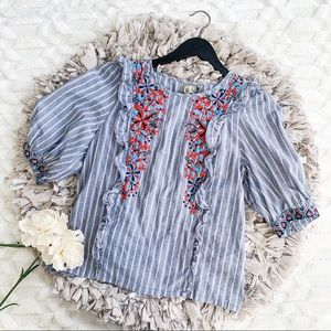 Anthropologie One September Embroidered Bib Top